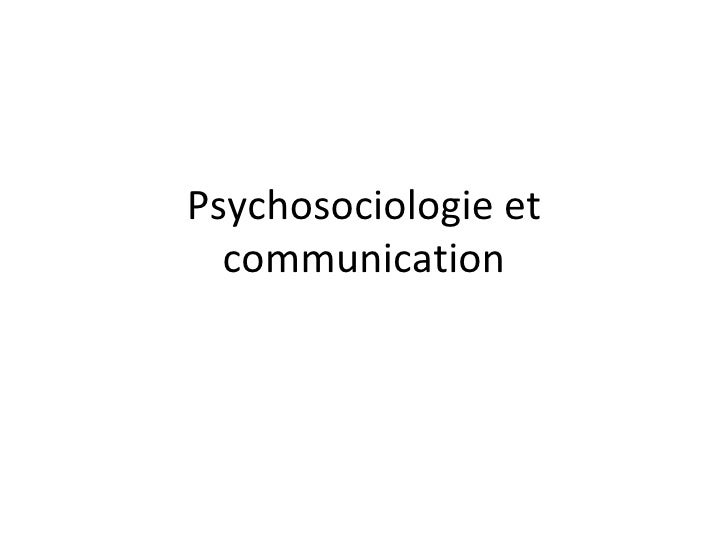 Psychosociologie et communication