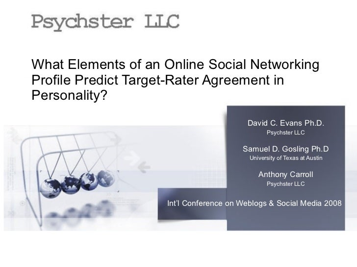 What Elements of an Online Social Networking Profile Predict Target-Rater Agreement in Personality? David C. Evans Ph.D. P...