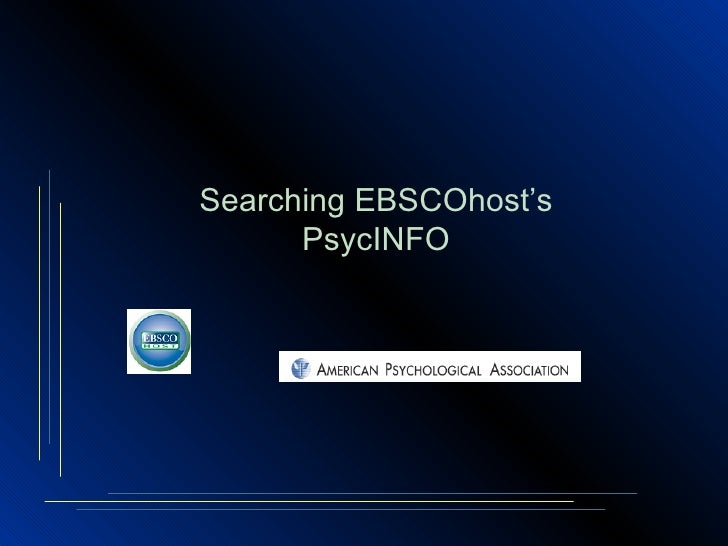 Searching EBSCOhost's PsycINFO