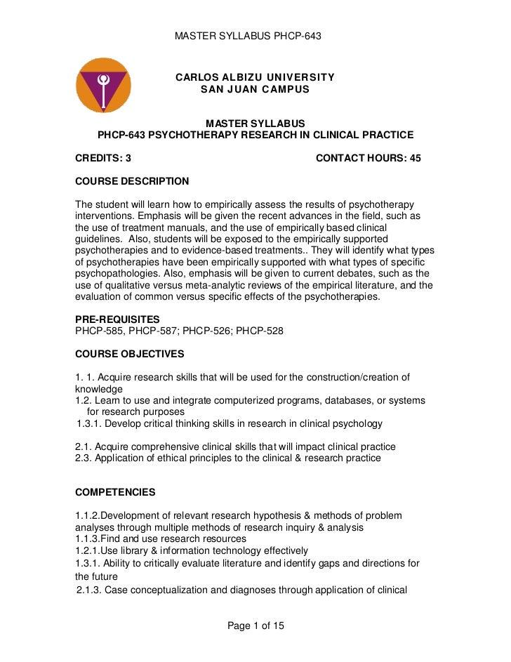 P sye 743 master syllabus agosto08