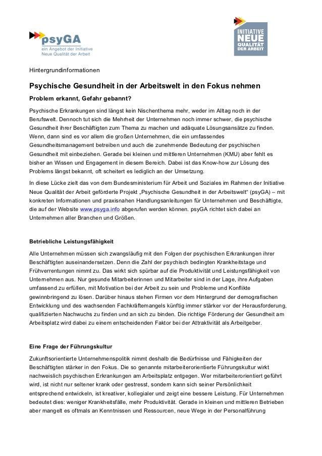 HintergrundinformationenPsychische Gesundheit in der Arbeitswelt in den Fokus nehmenProblem erkannt, Gefahr gebannt?Psychi...