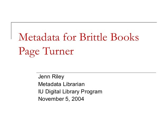 Metadata for Brittle Books Page Turner