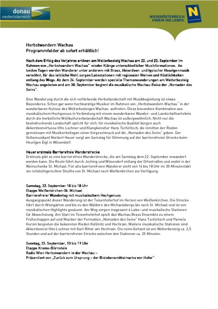 Herbstwandern WachauProgrammfolder ab sofort erhältlich!Nach dem Erfolg des Vorjahres ertönen am Welterbesteig Wachau am 2...