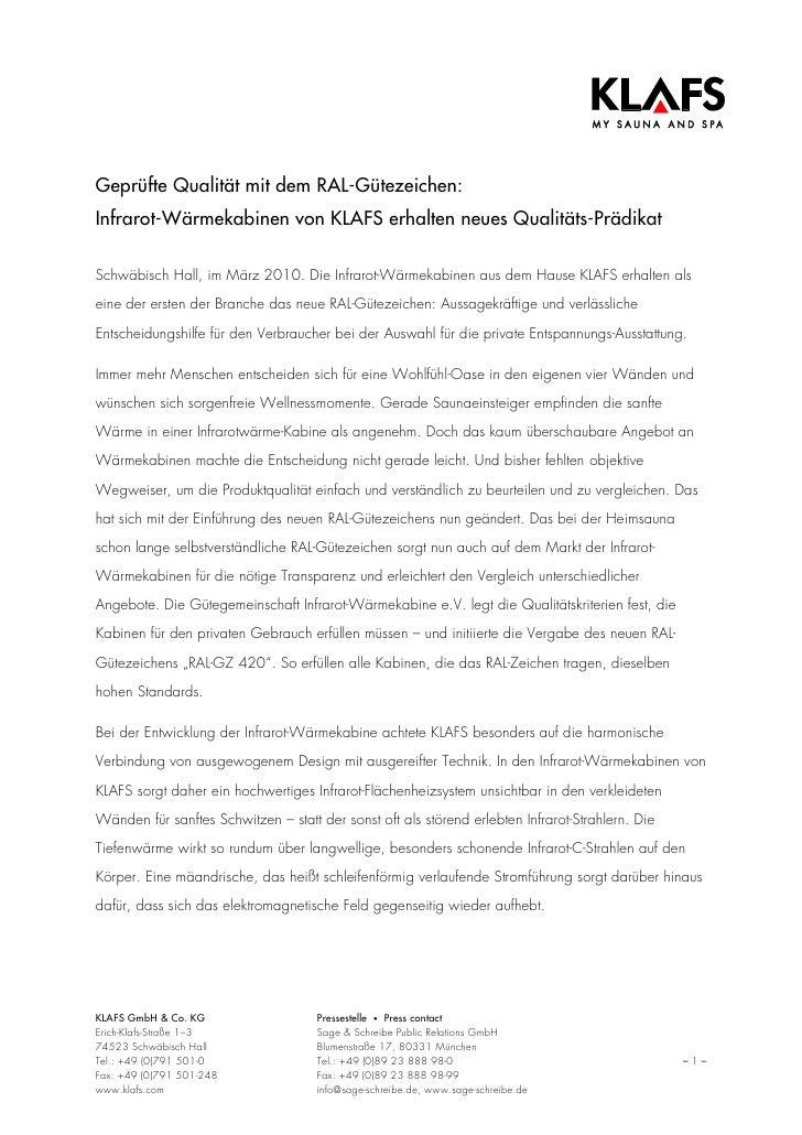 Geprüfte Qualität mit dem RAL-Gütezeichen:Infrarot-Wärmekabinen von KLAFS erhalten neues Qualitäts-PrädikatSchwäbisch Hall...