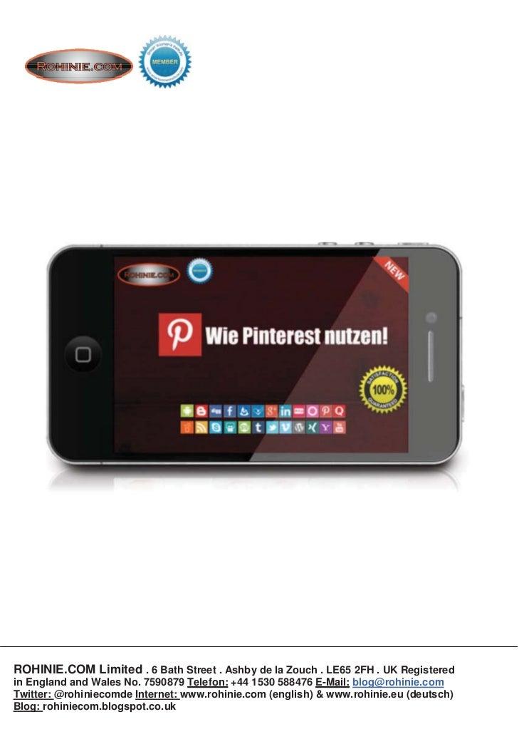 ROHINIE.COM: Kurzbeschreibung - Wie Pinterest nutzen