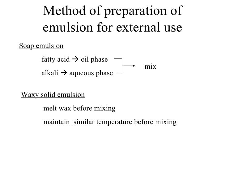 Method of preparation of      emulsion for external useSoap emulsion      fatty acid  oil phase                          ...
