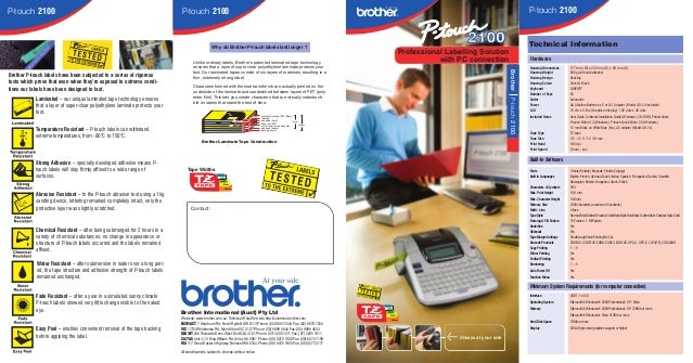 P-touch 2100  P-touch 2100  P-touch 2100  2100  Why do Brother P-touch labels last longer ?  Characters formed with therma...