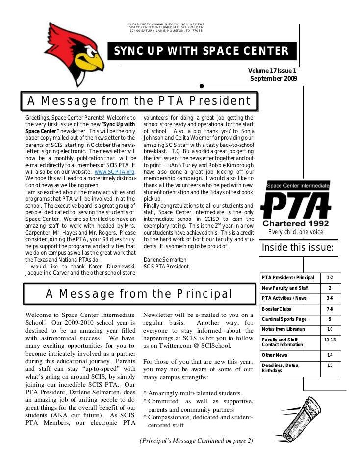 Pta Newsletter September 2009