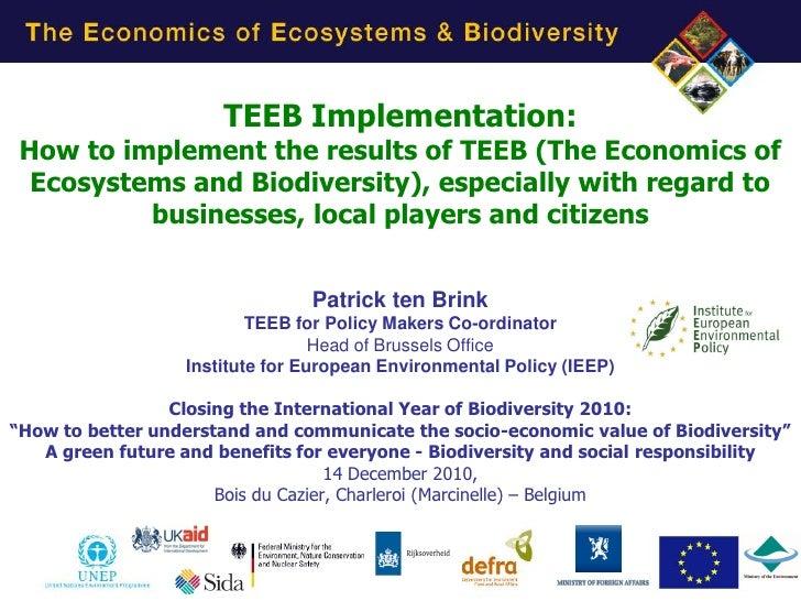 Patrick ten Brink of IEEP TEEB Implementation at Belgian Presidency event Charleroi 14 Dec 2010