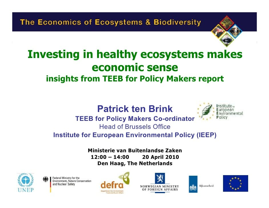 PtB of IEEP TEEB presentation to Ministry of Foreign Affairs den Haag 20 April 2010