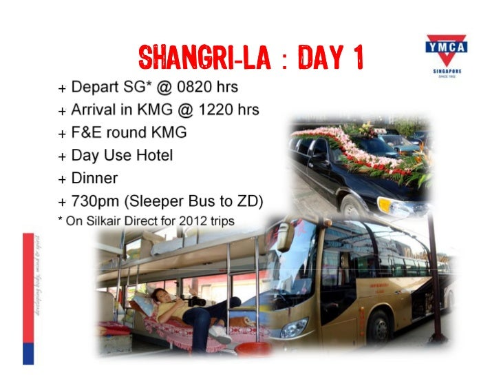 SHANGRI-LA : DAY 1+ Depart SG* @ 0820 hrs+ Arrival in KMG @ 1220 hrs+ F&E round KMG+ Day Use Hotel+ Dinner+ 730pm (Sleeper...