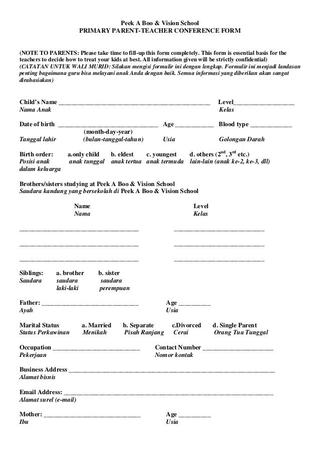 Peek A Boo & Vision School PRIMARY PARENT-TEACHER CONFERENCE FORM (NOTE TO PARENTS: Please take time to fill-up this form ...