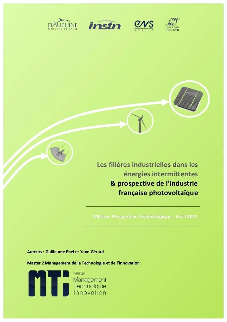 Les filières industrielles dans les énergies intermittentes