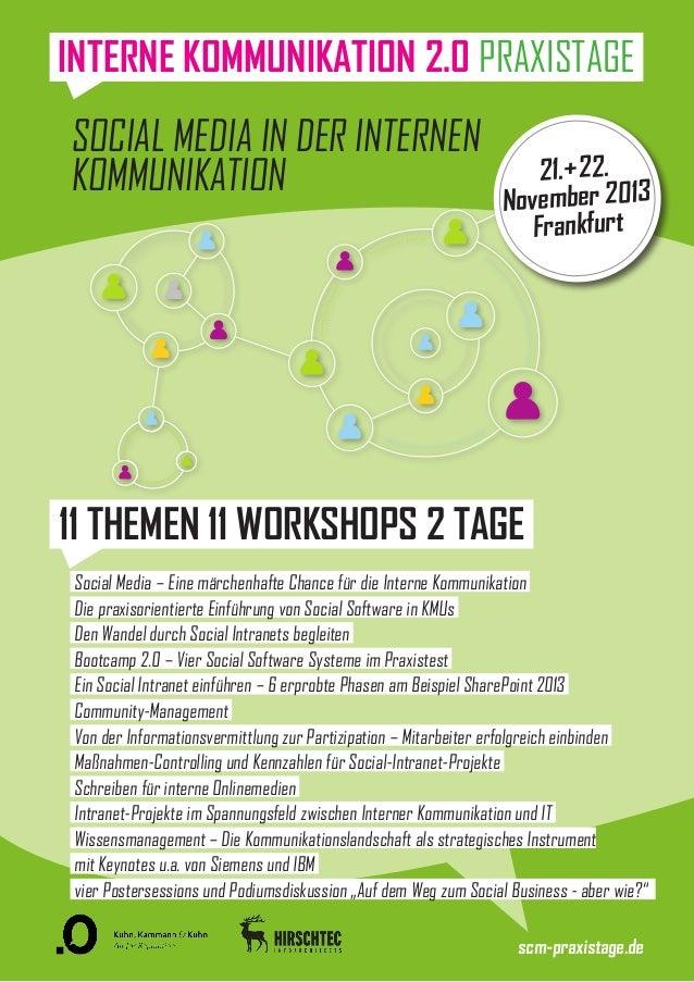 Social Media in der Internen Kommunikation 21.+22. November 2013 Frankfurt 11 THEMEN 11 WORKSHOPS 2 TAGE Social Media – Ei...