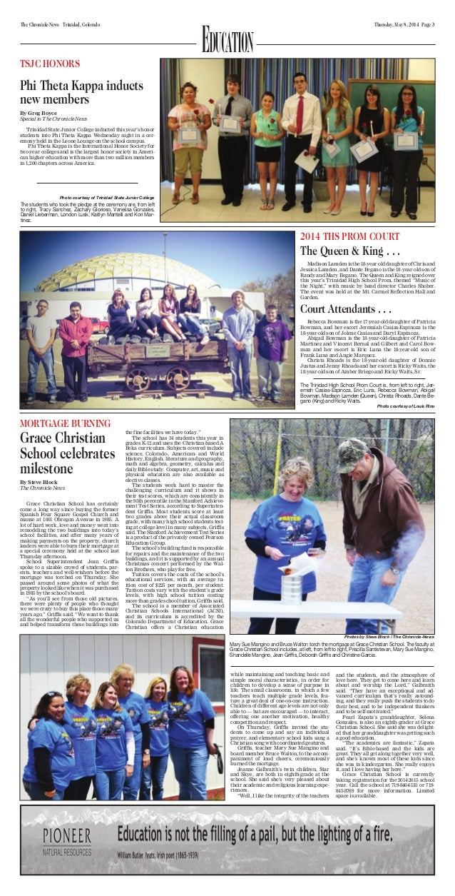 Thursday, May 8, 2014 Page 3The Chronicle-News Trinidad, Colorado Education Phi Theta Kappa inducts new members By Greg Bo...