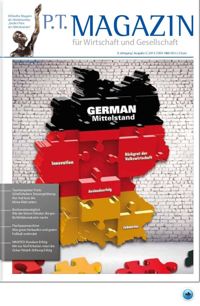 """Offizielles Magazin des Wettbewerbes """"Großer Preis des Mittelstandes""""  P.T. MAGAZIN für Wirtschaft und Gesellschaft  9. Ja..."""