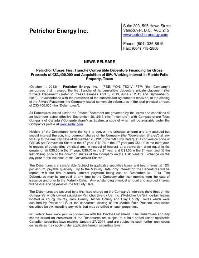 Petrichor Energy Inc. Suite 303, 595 Howe Street Vancouver, B.C. V6C 2T5 www.petrichorenergy.com Phone: (604) 336-8615 Fax...