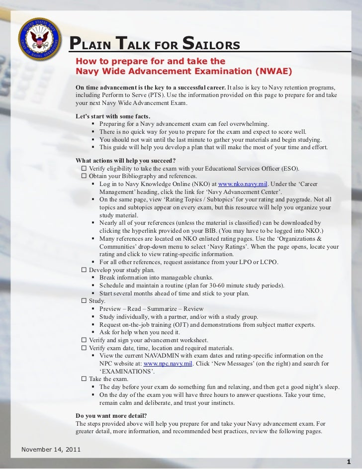 PLAIN TALK FOR SAILORS               How to prepare for and take the               Navy Wide Advancement Examination (NWAE...