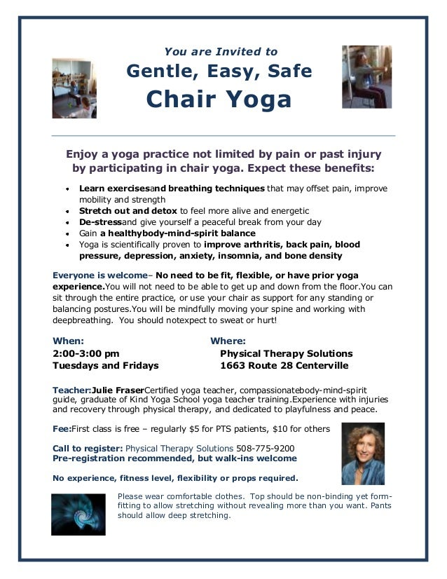 Chair yoga information flyer for Chair yoga benefits