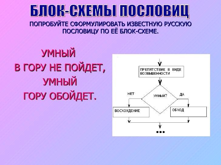 </li></ul>БЛОК-СХЕМЫ ПОСЛОВИЦ