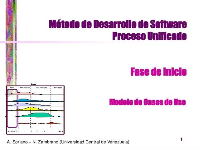 1  Método de Desarrollo de Software  Proceso Unificado  Fase de Inicio  A. Soriano – N. Zambrano (Universidad Central de V...