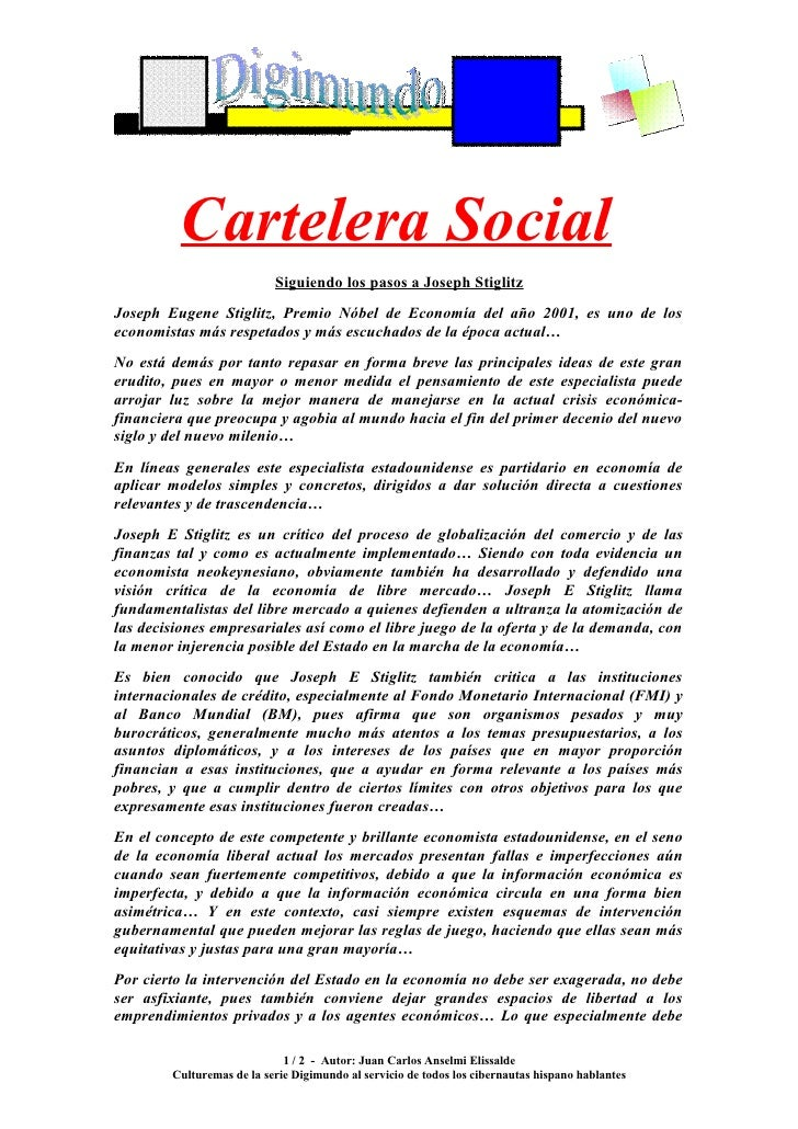 Cartelera Social                            Siguiendo los pasos a Joseph Stiglitz Joseph Eugene Stiglitz, Premio Nóbel de ...