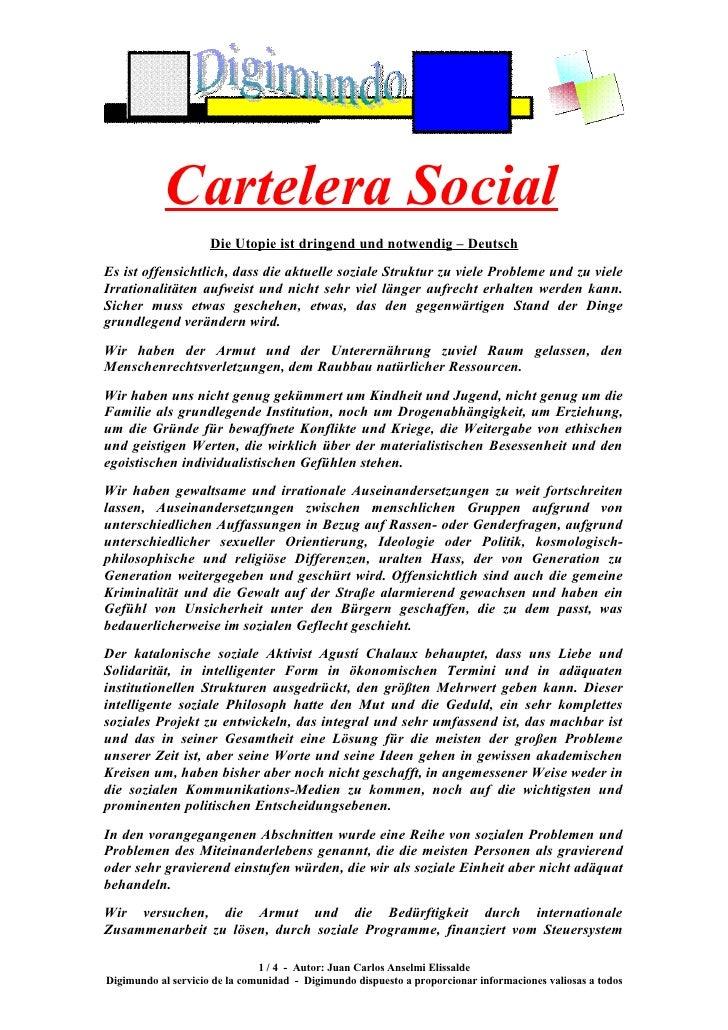 Cartelera Social                      Die Utopie ist dringend und notwendig – Deutsch Es ist offensichtlich, dass die aktu...