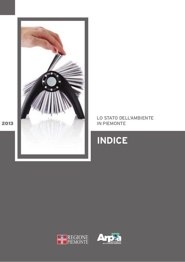 indice lo stato dell'ambiente in piemonte2013