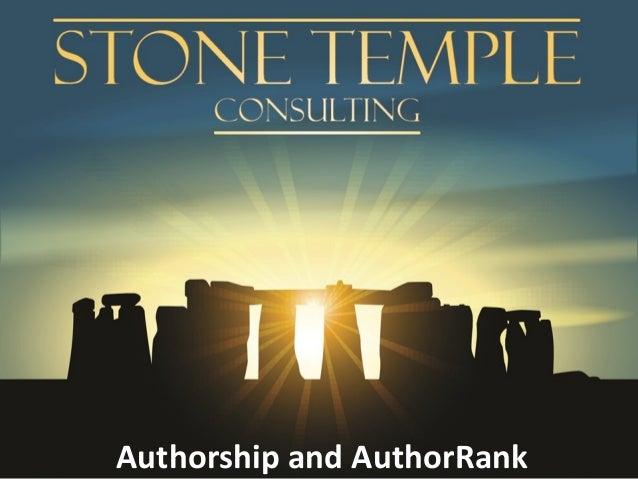 Authorship and AuthorRank