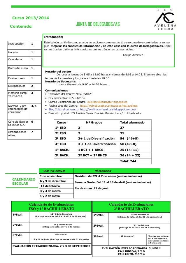 Curso 2013/2014  JUNTA DE DELEGADOS/AS  Contenido: Introducción: Introducción Horario  Este boletín continúa como una de l...