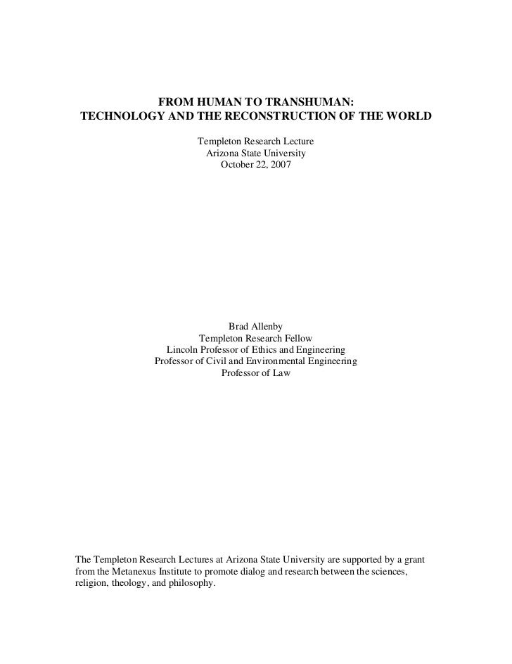 FROM HUMAN TO TRANSHUMAN:  TECHNOLOGY AND THE RECONSTRUCTION OF THE WORLD                               Templeton Research...