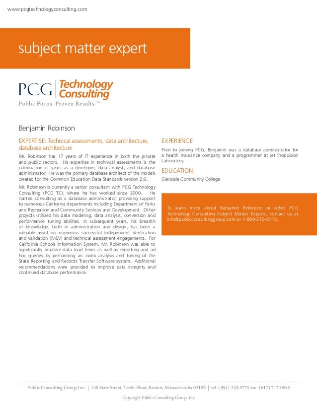 Public Consulting Group Expert Employee - Benjamin Robinson