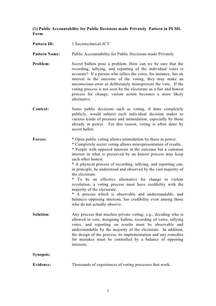 (1) Public Accountability for Public Decisions made Privately Pattern in PLMLFormPattern ID:         1 Sociotechnical-JCTP...