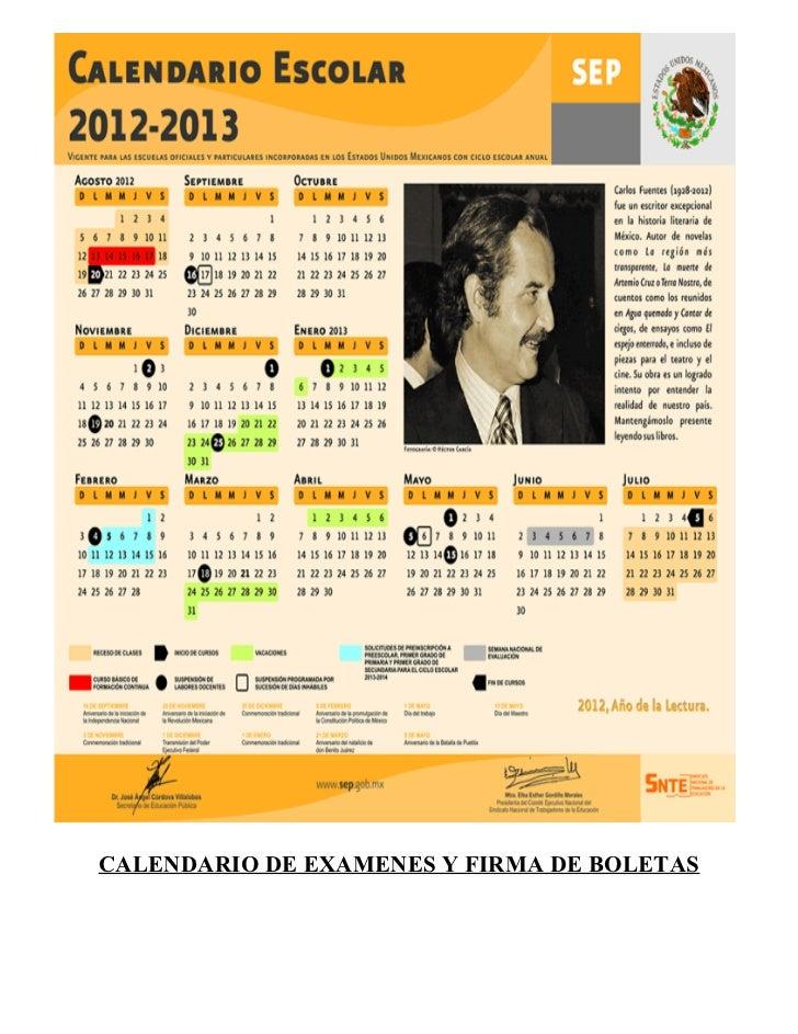 CALENDARIO DE EXAMENES Y FIRMA DE BOLETAS