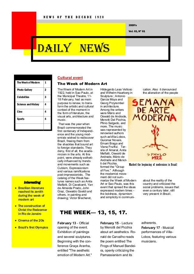 NEWS OF THE DECADE 1920 1920's Vol. 01, Nº 01  DAILY NEWS Cultural event The Week of Modern  1  The Week of Modern Art  Ph...