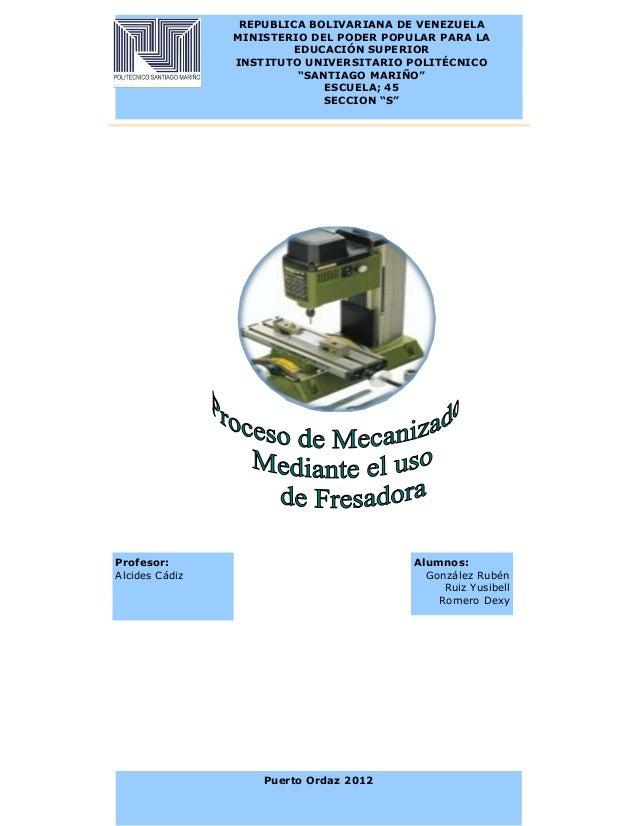 REPUBLICA BOLIVARIANA DE VENEZUELA                MINISTERIO DEL PODER POPULAR PARA LA                        EDUCACIÓN SU...