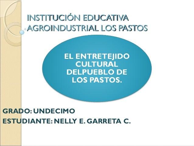 INSTITUCIÓN EDUCATIVAINSTITUCIÓN EDUCATIVA AGROINDUSTRIAL LOS PASTOSAGROINDUSTRIAL LOS PASTOS GRADO: UNDECIMO ESTUDIANTE: ...