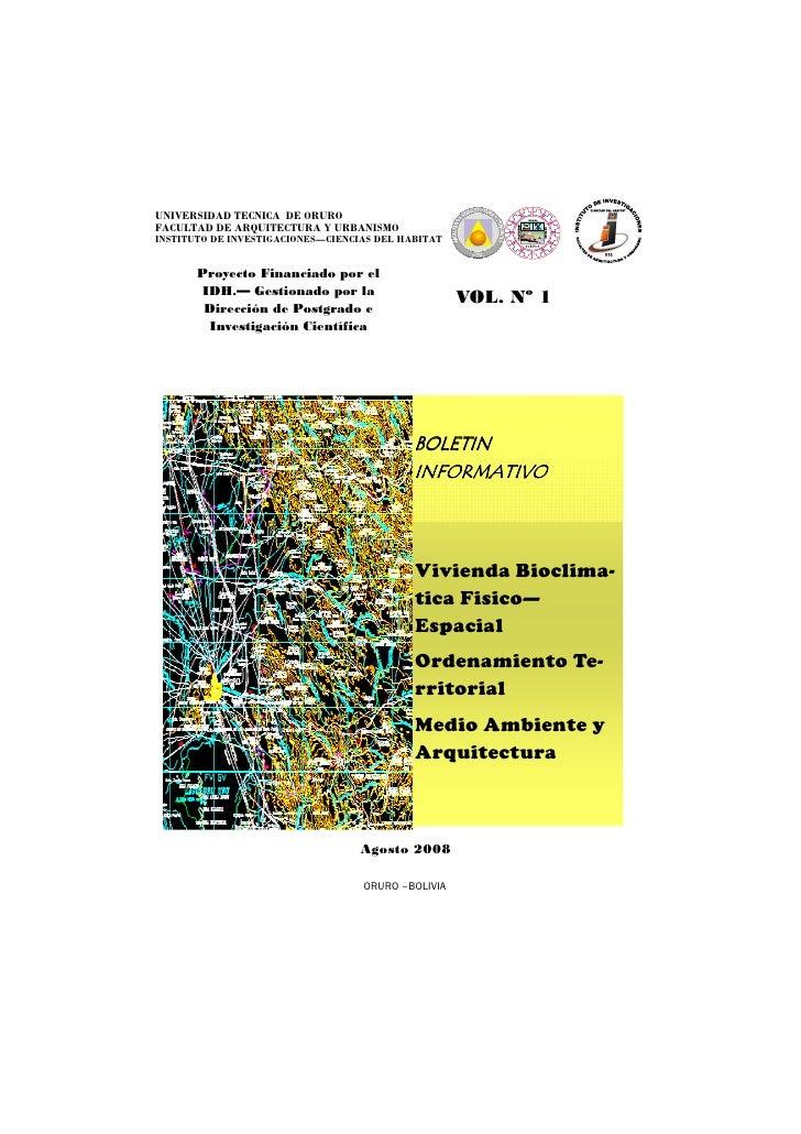 UNIVERSIDAD TECNICA DE ORURO FACULTAD DE ARQUITECTURA Y URBANISMO INSTITUTO DE INVESTIGACIONES—CIENCIAS DEL HABITAT       ...