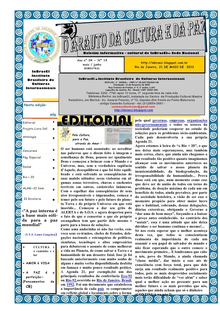 Boletim informativo - cultural do InBrasCI— Sede Nacional                                   Ano nº 04 — Nº 14             ...