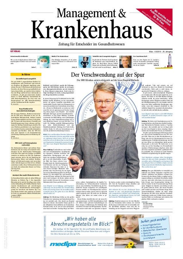Management & KrankenhausZeitung für Entscheider im Gesundheitswesen GITVERLAG·PF110564·64220Darmstadt PressepostDPAG·Entge...