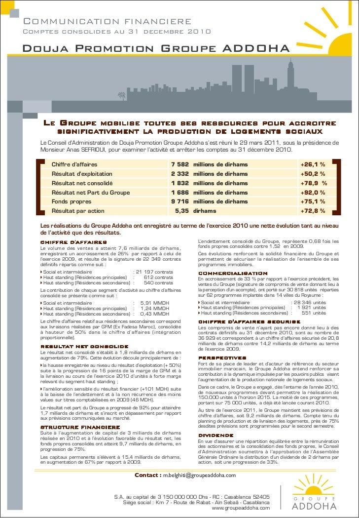 Publication addoha 2010
