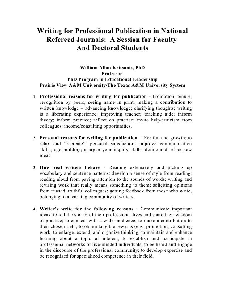 Writing for Professional Publication in National    Refereed Journals: A Session for Faculty              And Doctoral Stu...