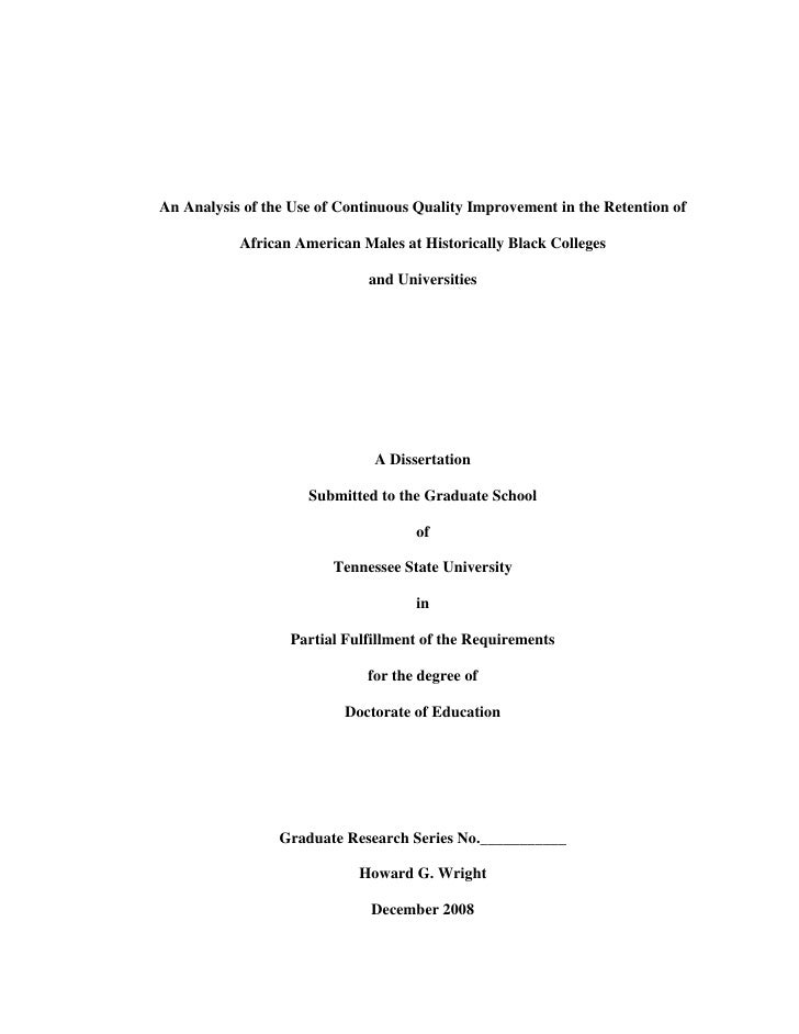 An Analysis of the Use of Continuous Quality Improvement in the Retention of African American Males at Historically Black Colleges and Universities