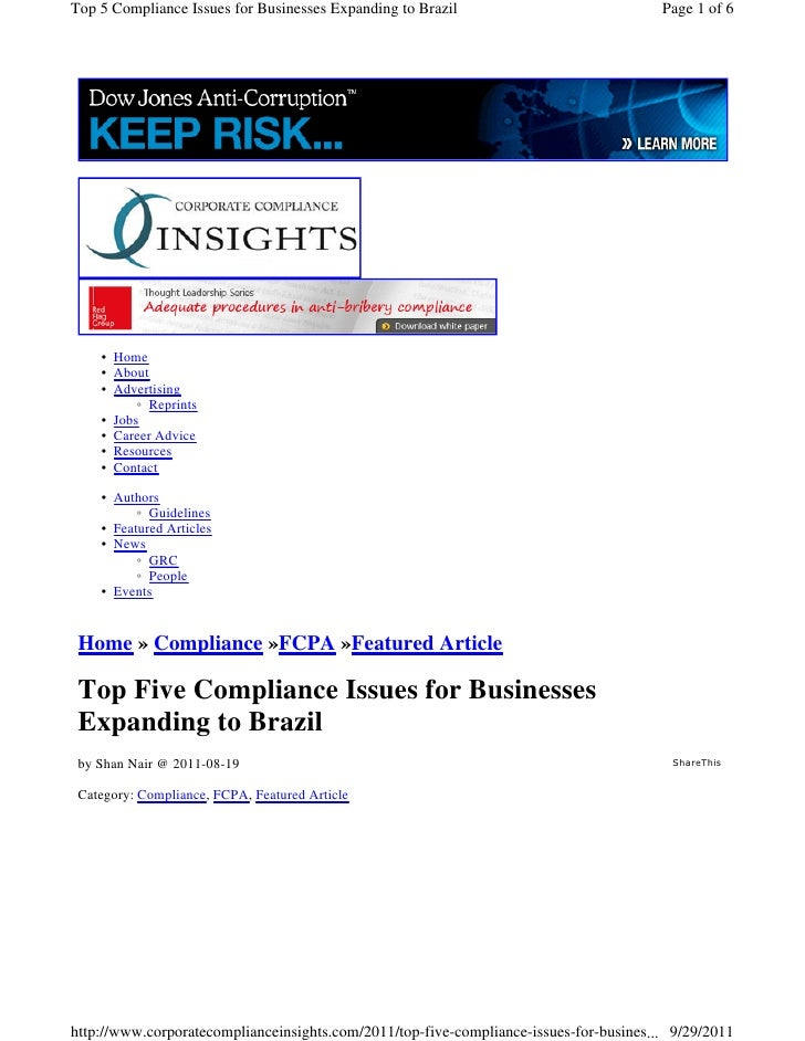 Top 5 Compliance Issues for Businesses Expanding to Brazil                              Page 1 of 6    • Home    • About  ...