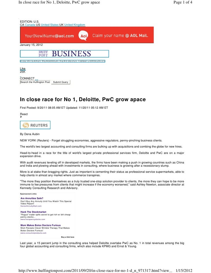 In close race for No 1, Deloitte, PwC grow apace