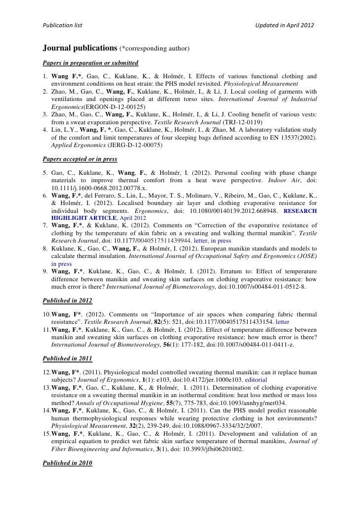 Publication list                                                               Updated in April 2012Journal publications (...
