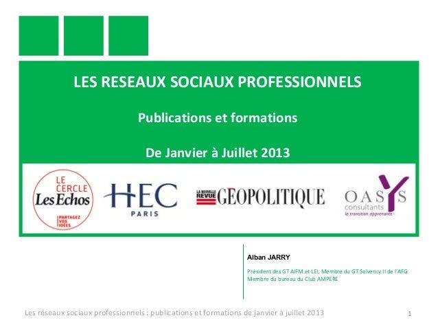 LES RESEAUX SOCIAUX PROFESSIONNELS Publications et formations De Janvier à Juillet 2013 Les réseaux sociaux professionnels...