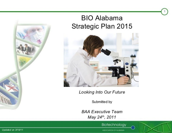 BIO Alabama Strategic Plan 2015 Looking Into Our Future Submitted by BAA Executive Team May 24 th , 2011