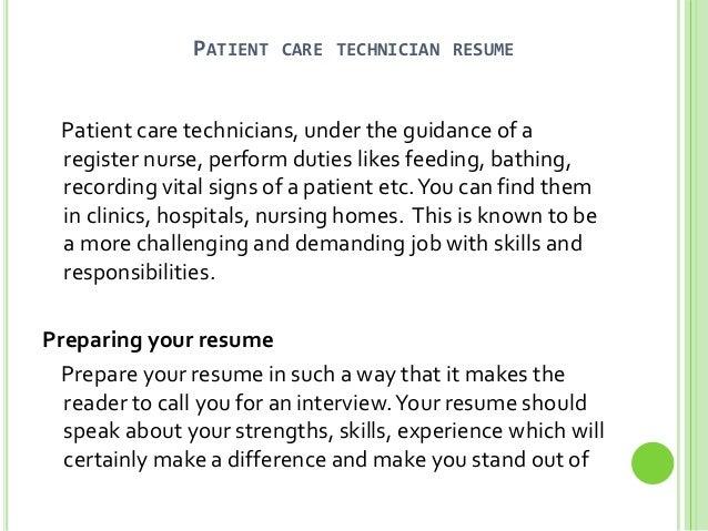 patient care technician resume sle