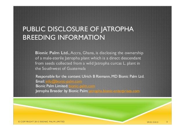 PUBLIC DISCLOSURE OF JATROPHA   BREEDING INFORMATION             Bionic Palm Ltd., Accra, Ghana, is disclosing the ownersh...